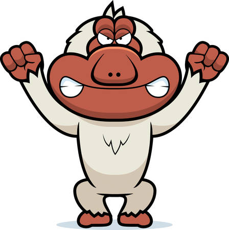 macaque: A cartoon illustration of an angry looking Japanese macaque. Illustration