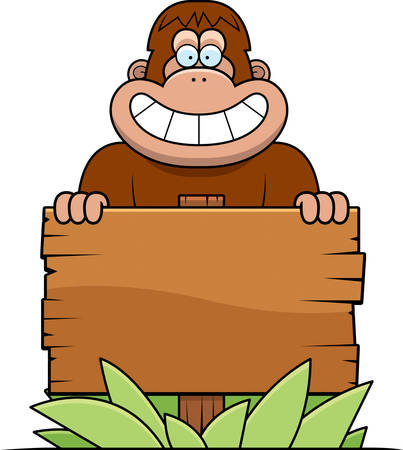 bigfoot: A cartoon illustration of a bigfoot with a wooden sign.