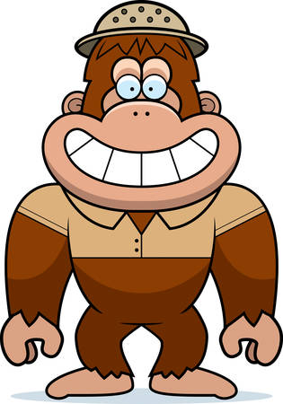 bigfoot: A cartoon illustration of a bigfoot in a safari outfit and pith.