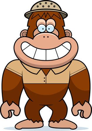 médula: Una ilustración de dibujos animados de un Bigfoot en un traje de safari y médula. Vectores