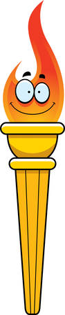 A cartoon illustration of and sports competition torch happy and smiling. Illusztráció