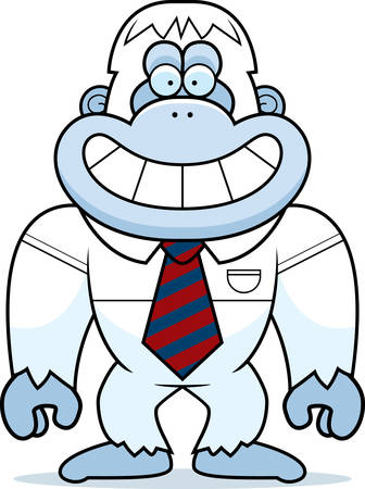yeti: A cartoon illustration of a yeti in a tie. Illustration