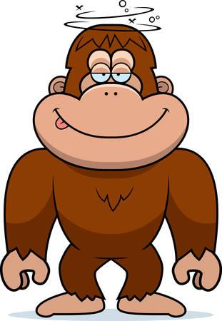 bigfoot: A cartoon illustration of a stupid bigfoot. Illustration