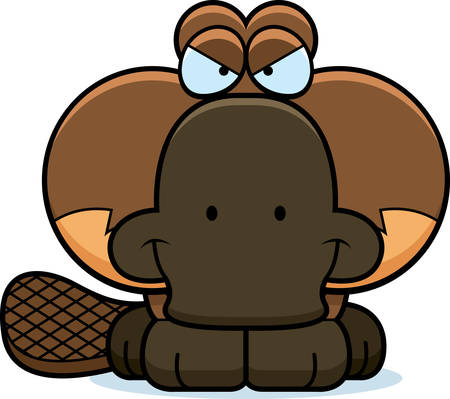 devious: A cartoon illustration of a little platypus with a devious expression.