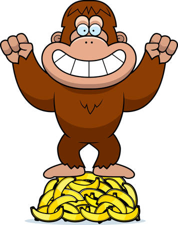 hoarding: A cartoon illustration of a bigfoot on a pile of bananas.
