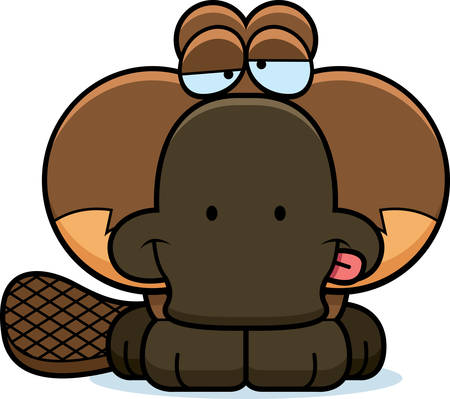 goofy: A cartoon illustration of a little platypus with a goofy expression. Illustration