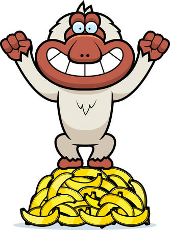 macaque: A cartoon illustration of a Japanese macaque on a pile of bananas.
