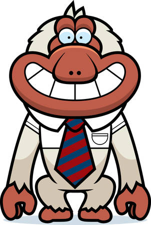 macaque: A cartoon illustration of a Japanese macaque in a tie. Illustration