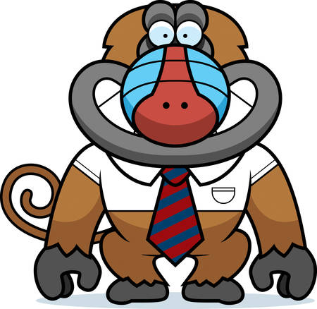 A cartoon illustration of a baboon in a tie. 矢量图像