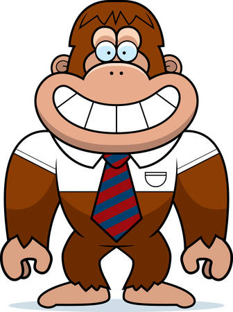 bigfoot: A cartoon illustration of a bigfoot in a tie.