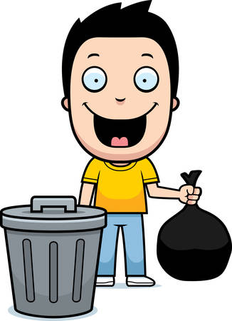 A happy cartoon boy taking out the trash.