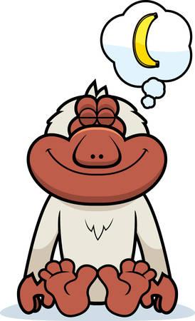 macaque: A cartoon illustration of a Japanese macaque dreaming of a banana.