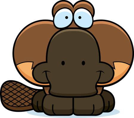 platypus: A cartoon illustration of a little platypus happy and smiling. Illustration