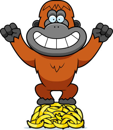 a cartoon illustration of an orangutan on a pile of bananas royalty rh 123rf com baby orangutan clipart Baby Orangutan Clip Art