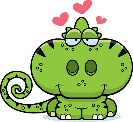 A cartoon illustration of a chameleon with an in love expression.