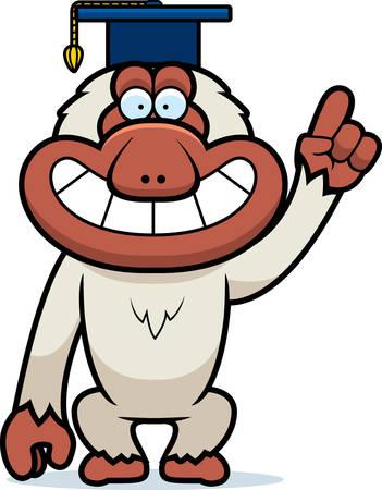 macaque: A cartoon illustration of a Japanese macaque in a professor cap.