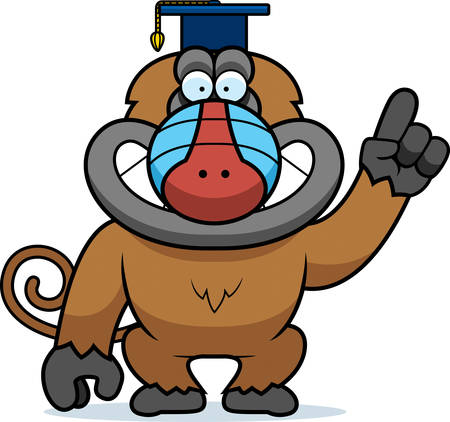 baboon: A cartoon illustration of a baboon in a professor cap.