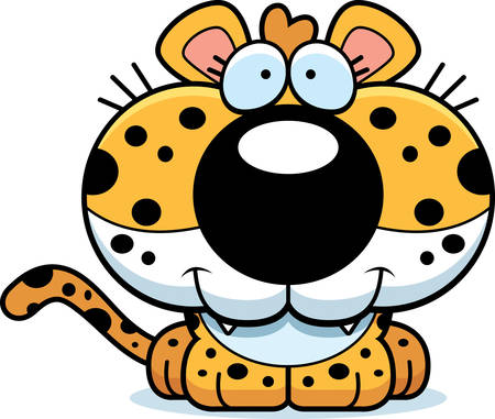 cub: A cartoon leopard cub happy and smiling. Illustration