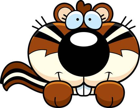 peekaboo: A cartoon illustration of a chipmunk peeking over an object.