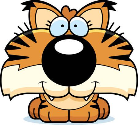 lynx: A cartoon lynx cub happy and smiling. Illustration