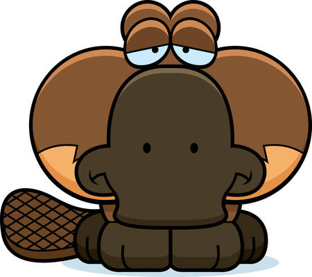 platypus: A cartoon illustration of a little platypus with a sad expression.