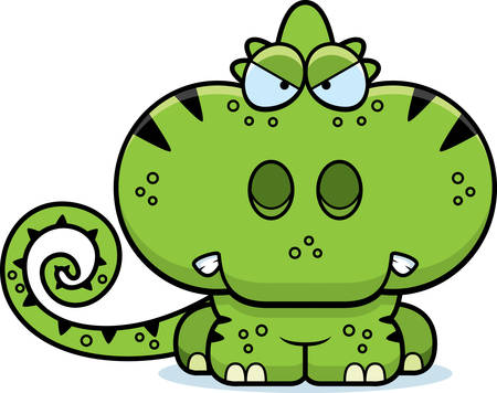 A cartoon illustration of a chameleon with an angry expression.