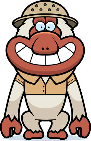 pith: A cartoon illustration of a Japanese macaque in a safari outfit and pith. Illustration