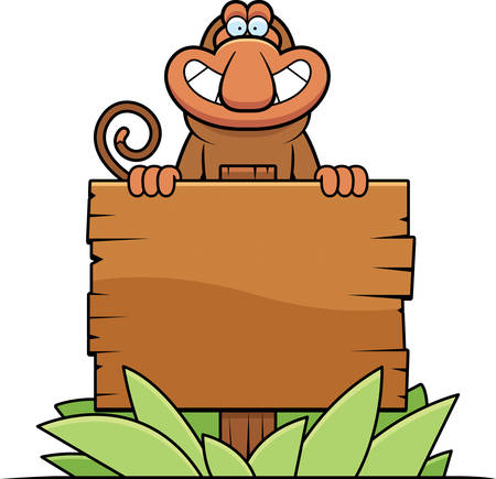 proboscis: A cartoon illustration of a proboscis monkey with a wooden sign. Illustration