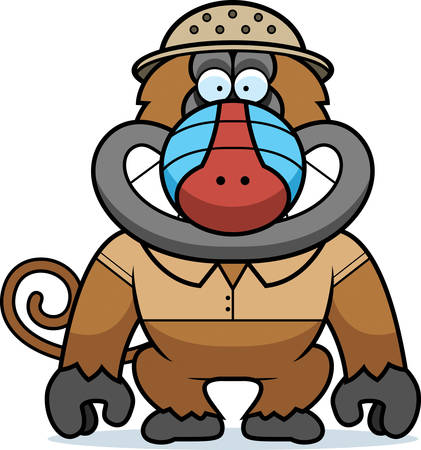 pith: A cartoon illustration of a baboon in a safari outfit and pith.