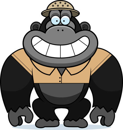 pith: A cartoon illustration of a gorilla in a safari outfit and pith. Illustration