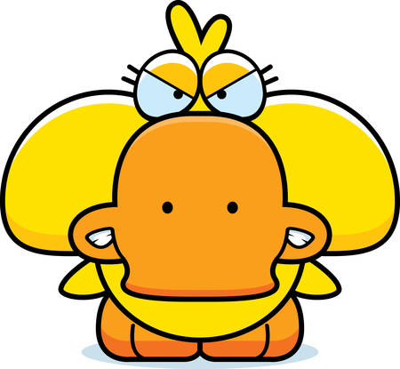 growl: A cartoon illustration of a little duckling with an angry expression. Illustration