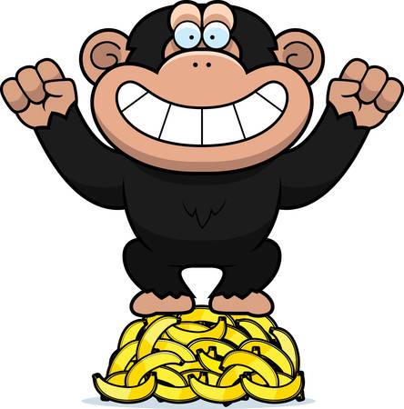 A cartoon illustration of a chimpanzee on a pile of bananas. Illustration