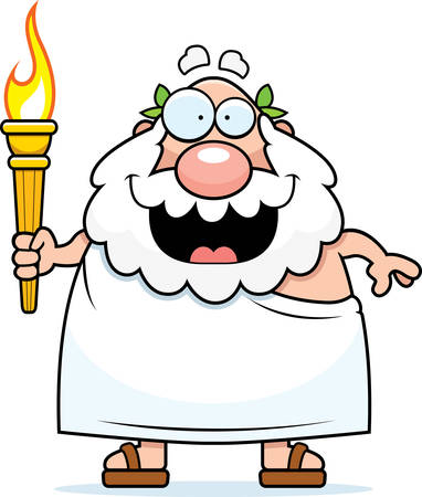 toga: A cartoon illustration of a bearded Greek man holding the sports competition torch.