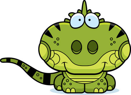 small reptiles: A cartoon illustration of a iguana happy and smiling.