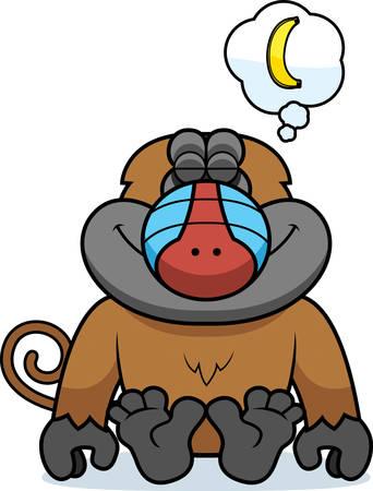 mandril: Una ilustraci�n de dibujos animados de un babuino so�ando con un pl�tano.
