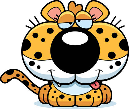 goofy: A cartoon illustration of a leopard cub with a goofy expression. Illustration