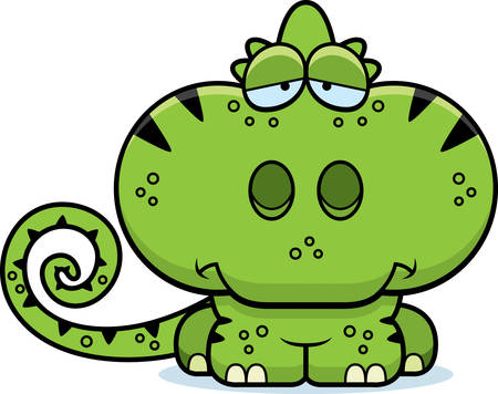 A cartoon illustration of a chameleon with a sad expression.