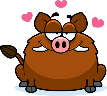 enamored: A cartoon illustration of a boar in love.