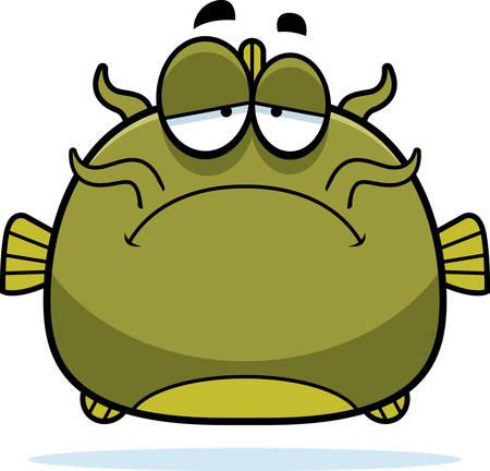 catfish: A cartoon illustration of a catfish looking sad.