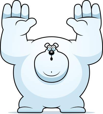 surrendering: A cartoon illustration of a polar bear surrendering.