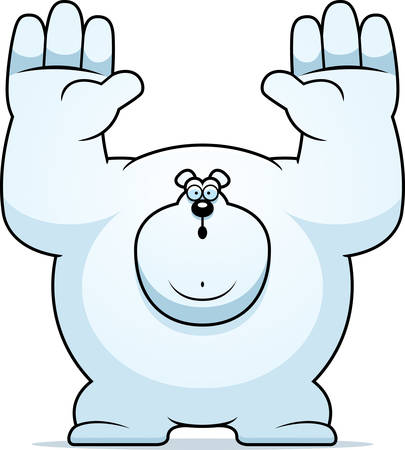 A cartoon illustration of a polar bear surrendering.
