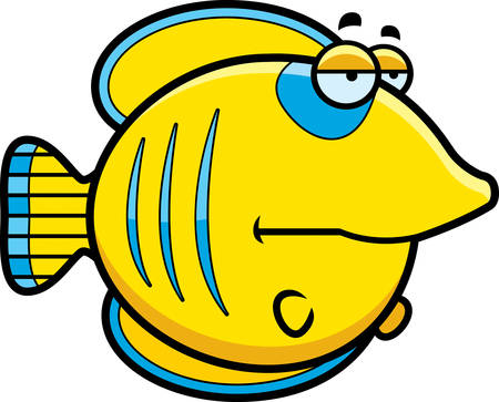 butterflyfish: A cartoon illustration of a butterflyfish looking bored.
