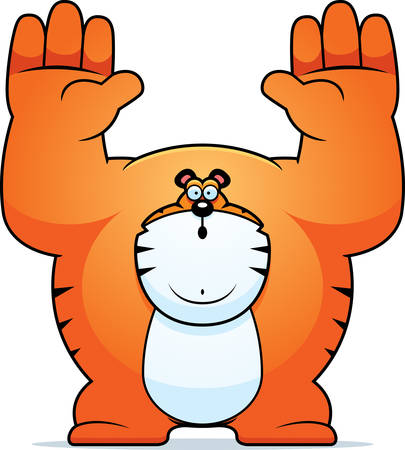 surrendering: A cartoon illustration of a tiger surrendering. Illustration