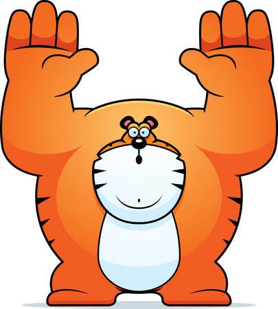 surrendering: A cartoon illustration of a tiger surrendering. Illustration
