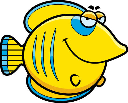 A cartoon illustration of a butterflyfish with a sly expression.