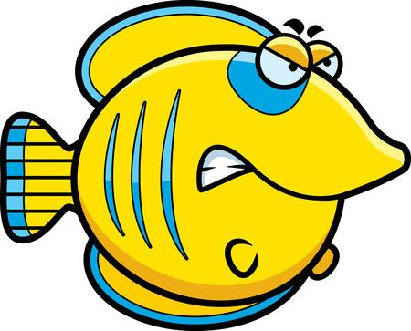 butterflyfish: A cartoon illustration of a butterflyfish with an angry expression. Illustration