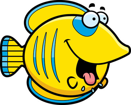A cartoon illustration of a butterflyfish looking hungry.