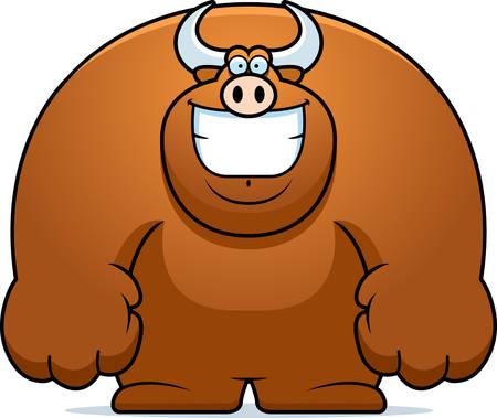 smilling: A cartoon illustration of a bull smiling. Illustration