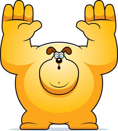 surrendering: A cartoon illustration of a dog surrendering.