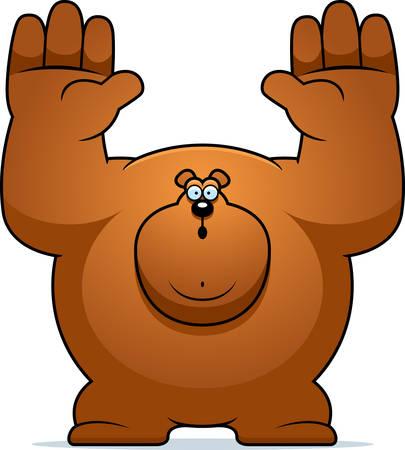 surrendering: A cartoon illustration of a bear surrendering.